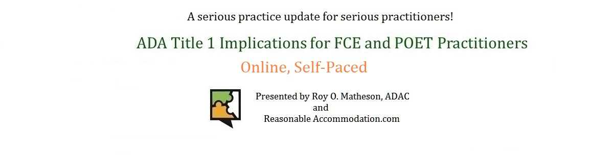 Roy Matheson Functional Capacity Evaluation Online Training